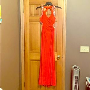 Coral prom dress with silver sequence
